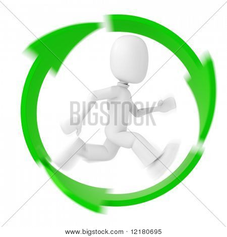 3d man running inside the recycle symbol