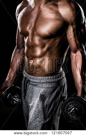 Muscle male body with weights