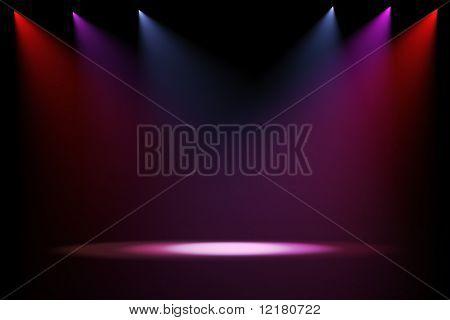 luces del escenario 3D sobre fondo negro