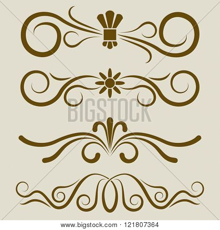 Calligraphic book page divider vector set. 4 dividers for greeting cards, invitations, title pages or text separation.