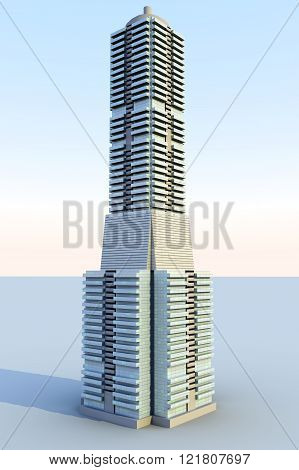 A contemporary skyscraper. A 3D rendered Illustration.
