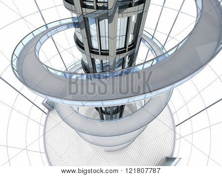 Science fiction architecture visualisation. 3D rendered illustration.