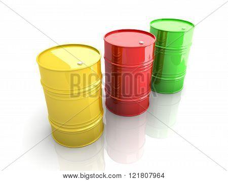 Three industrial barrels. A 3D rendered Illustration.
