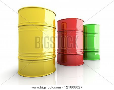 Three industrial barrells. A 3D rendered Illustration.