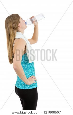 Rearview Of Fitness Woman Drinking Water