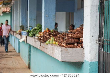 Vegetable Market With Mixed Fruits And Vegetables