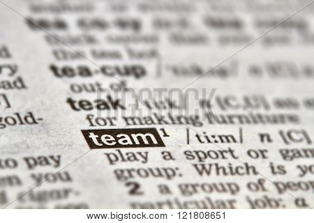 Team Word Definition Text