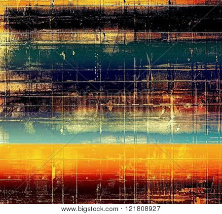 Abstract grunge damaged background or texture. With different color patterns: yellow (beige); brown; blue; red (orange); black