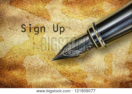 Pen And Text Sign Up