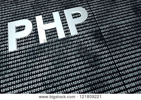 PhP in front of a digital background