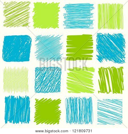 Vector collection of scribbled lines with hand drawn style of green and blue color