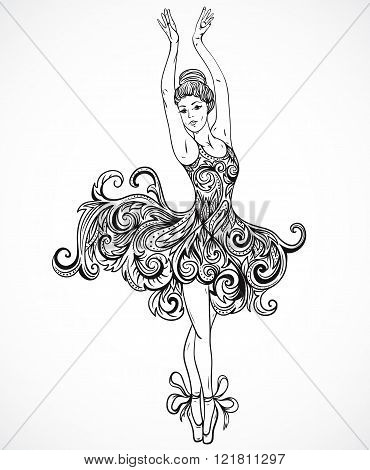 Ballerina with floral ornament dress. Vintage black and white hand drawn vector illustration in sketch style