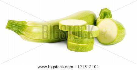 Cut Vegetable Marrows (zucchinis) Isolated On White Background