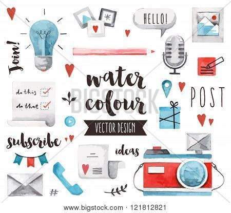 Blogging Elements Watercolor Vector Objects
