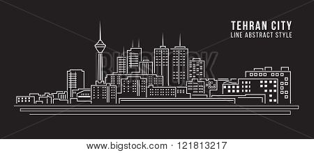 Cityscape Building Line Art Vector Illustration Design -  Tehran City