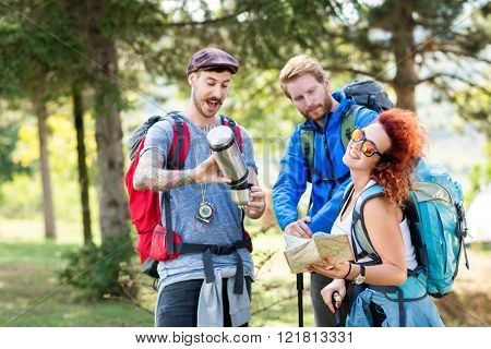 Group of mountaineering in forest with backpack, thermos, map and hiking sticks in green forest