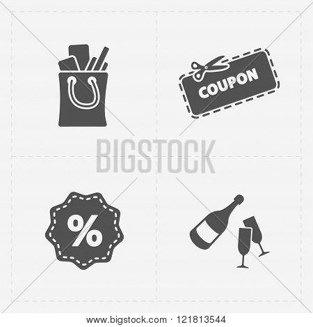 Gift flat black shop icon set on white