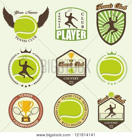 various stylized tennis icons