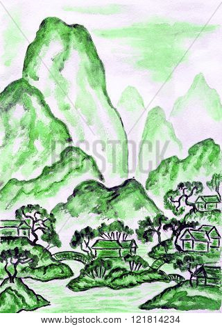Hand painted picture watercolours in traditions of old Chinese art mixed with individual style landscape with mountains in green colour.