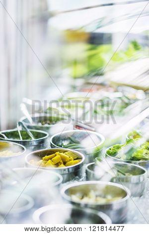 Salad Bar Buffet Fresh Mixed Vegetables Display