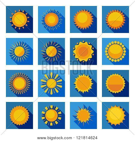 Sun Flat Icons In Isolated Blue Squares