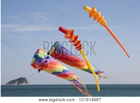 Colored Kites In A Windy Day In Ligurian Riviera, Italy