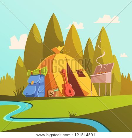 Hiking And Tent Illustration