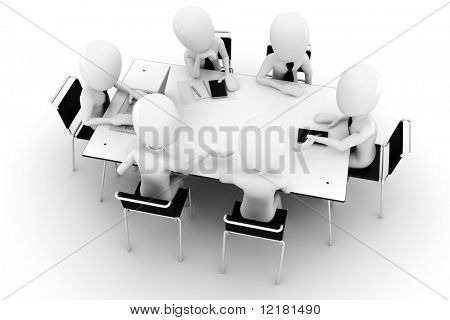 3d man, business meeting, isolated on white