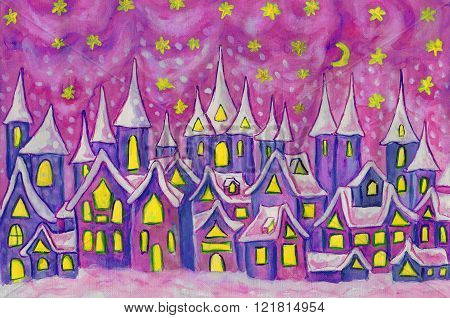 Hand painted illustration watercolours - Dreamstown in blue and pink colors. Can be used as illustration for fairy tales books for children Christmas pictures.