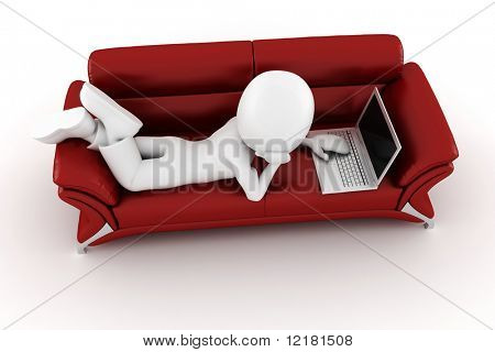 3d man with laptop sitting on a red sofa
