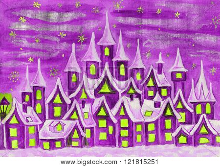 Hand painted illustration watercolours fairy town in violet colours can be used as illustration for children's fairy tales Christmas picture etc.