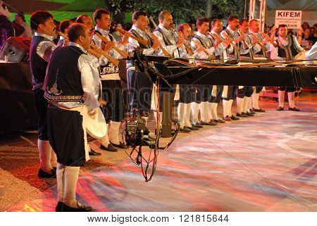 ANKARA/TURKEY-JUNE 8: Folk music drum and horn team at the stage during the