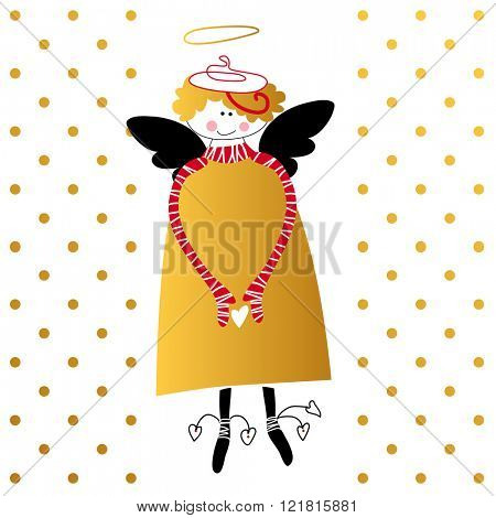 Angel with wings and halo. Flying cupid with heart in hands. Greeting card for Valentine's Day template. Cartoon angel. Religious symbol. Vector illustration.