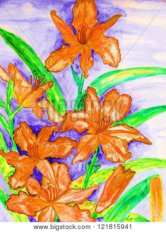 painting in watercolor Orange daily lilies vertical.