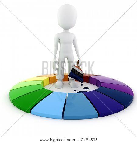 3d man painting a color wheel