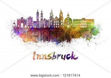 Innsbruck Skyline In Watercolor