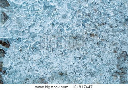 Ice with bubbles of air