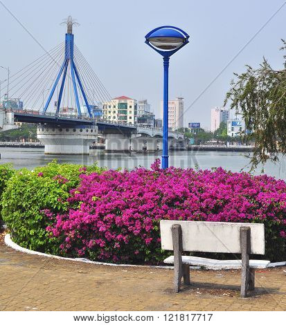 DA NANG VIETNAM - MARCH 19: View of Da Nang downtown Vietnam on March 19 2015. Da Nang is the third largest city of Vietnam.