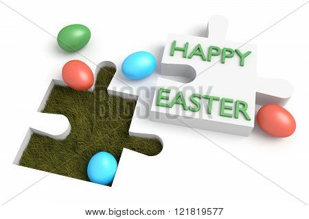 Easter puzzle: Happy easter with eggs on white bg