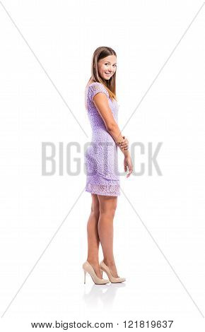 Girl in purple lace dress, heels, studio shot, isolated