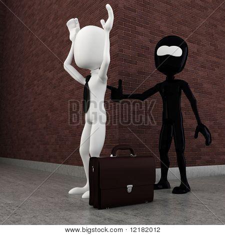 3D penal mal de homem roubando um homem de negócios