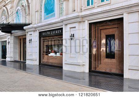HOCHIMINH CITY VIETNAM - MARCH 8: Ralph Lauren flagship store in Ho Chi Minh City Vietnam on March 8 2015. Hochiminh is the second largest city of Vietnam.