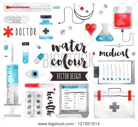 Medical Equipment Watercolor Vector Objects