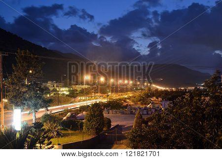 View Of Stalida Town At Night.