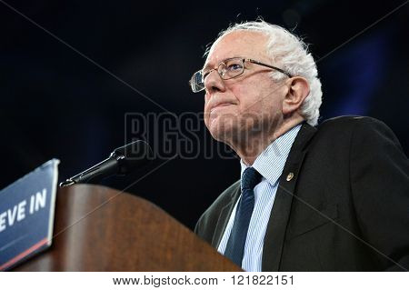 Saint Charles, MO, USA - March 14, 2016: US Senator and Democratic Presidential Candidate Bernie Sanders speaks during a campaign rally at the Family Arena in Saint Charles, Missouri.