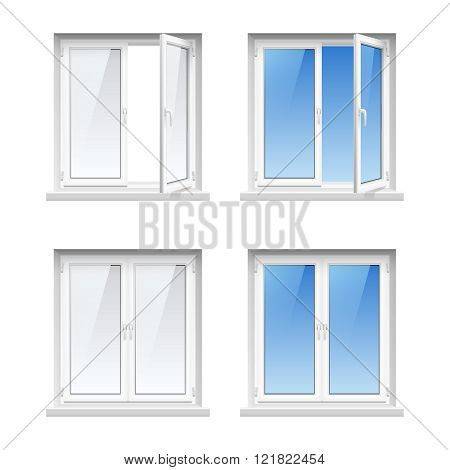 Plastic Window Frames 4 Realistic Icons Set