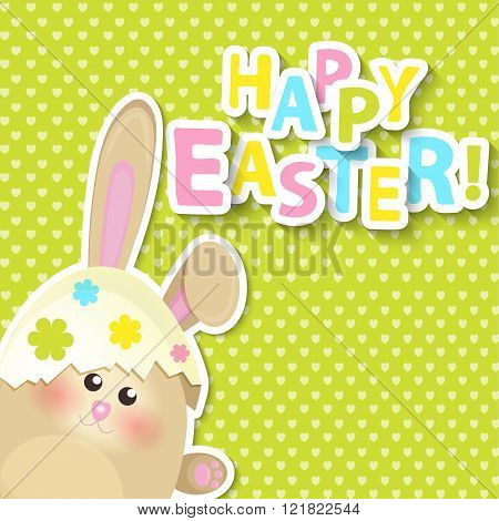 Greeting card for happy easter. Vector.