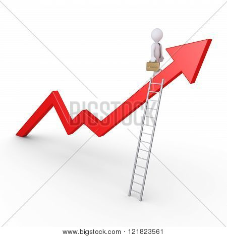 Businessman is standing on a rising graph with a ladder on it