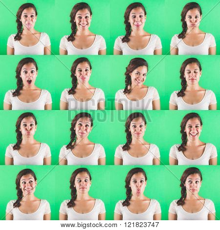 Beautiful woman multiple portraits on green background. Each image is showing a different emotion like happiness sadness fear and some more.