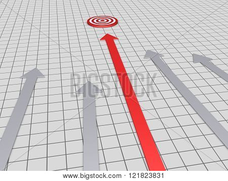 Arrows are on the ground but one is of different color and pointing at a target